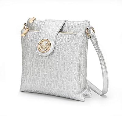MKF Crossbody Bags for women – Cross body Strap, Messenger Purse – PU Leather Handbag, Womens Fashion Pocketbook Silver