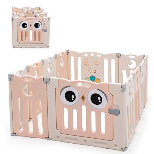 RELAX4LIFE Box Pieghevole per Bambini, Recinto con 12 Pannelli Robusti, Centro di Attività per Bambini Divertente, Recinzione di Sicurezza con Serratura da Esterno e Interno, 148 x 110 x 63 cm (rosa)