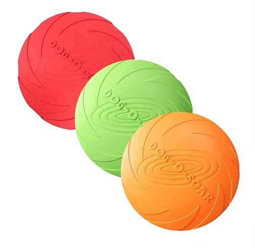 3 Stück Hund Frisbees, Haustier fliegenden Untertasse, Gummi fliegende Scheibe, interaktive Outdoor-Spielzeug, 7 Zoll / 18 cm, perfekt für Hund werfen, Training, spielen und fangen