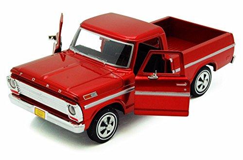 1969 Ford F-100 Pickup, Red - Motormax Premium American 79315 - 1/24 Scale Diecast Model Car