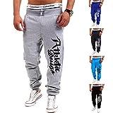 XYYGF Pantalones Deportivos Informales con Estampado de Letras a la Moda para Hombre Pantalones para Hombre-Gris Claro_XL