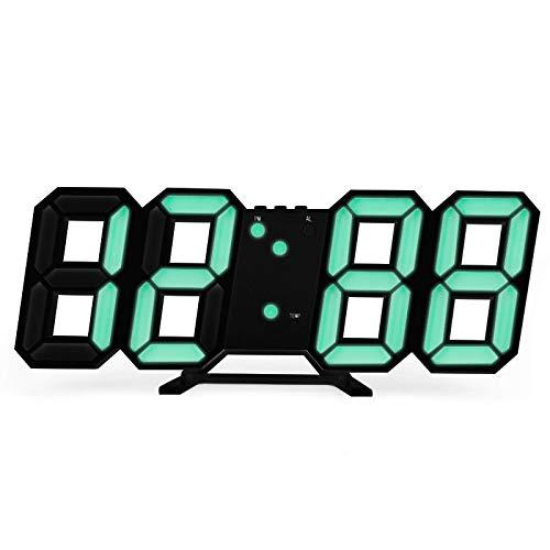 Reloj despertador digital 3D LED reloj despertador de mesa noche reloj de pared 24/12 horas temporizador alarma calendario termómetro para dormitorio escritorio decoración del hogar 03