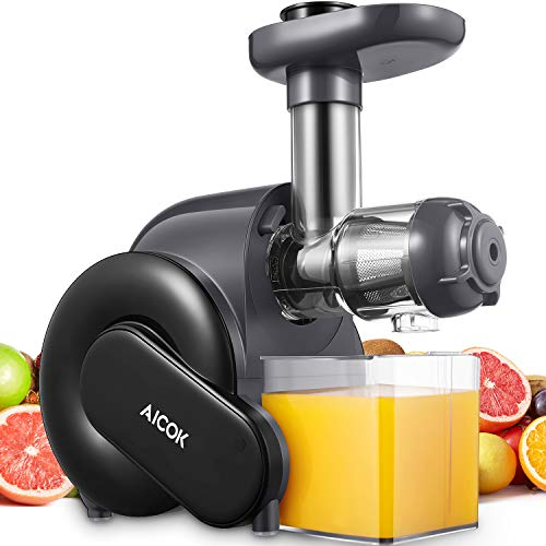 Juicer Machines, Aicok Slow Masticating Juicer with Quiet Motor, Safe Lock, & Reserve Function, Easy to Clean, with Recipes for Multiple High Nutrient Juice
