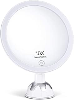AEVO 10X Magnifying Lighted Makeup Mirror, 30-LED Vanity Mirror [HD Reflection] [3 Light Modes] [Stepless Dimming] [360-Degree Rotation] [Easy Installation] [Two Power Options]