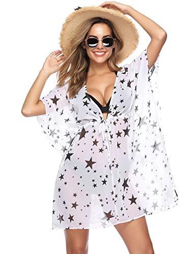 iClosam Strandponcho voor dames, doorzichtig, V-hals, strandvakantie, strandtuniek, poncho, beachwear, bloemenprint, cover-up
