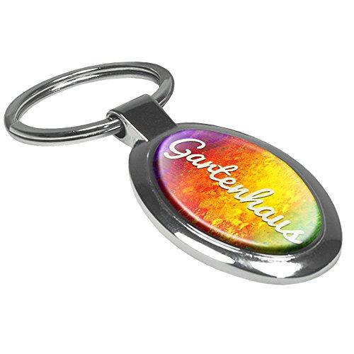 Schlüsselanhänger mit dem Aufdruck Gartenhaus - Motiv Color Paint - Schlüsselanhänger, Beschrifteter Anhänger, Talisman, Anhänger, Chrom, Schlüsselbund