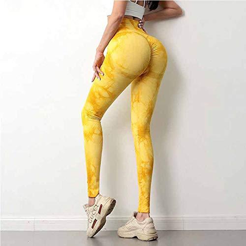 WXHXSRJ Pantalones de Yoga de Cintura Alta para Mujer, Mallas de Cintura Alta sin Costuras, Mallas Deportivas para Mujer Capris para Ejercicio físico para Verano,Amarillo,L