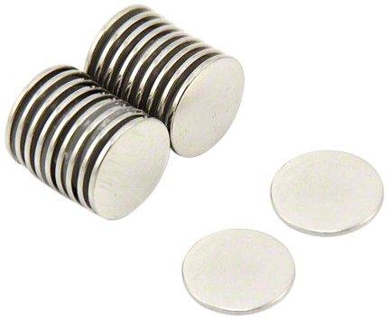 First4magnets F309-10 15mm Durchmesser x 1mm dicken N42 Neodym-Magneten - 1,1 kg ziehen (Packung mit 10), silver, 25 x 10 x 3 cm, Stück