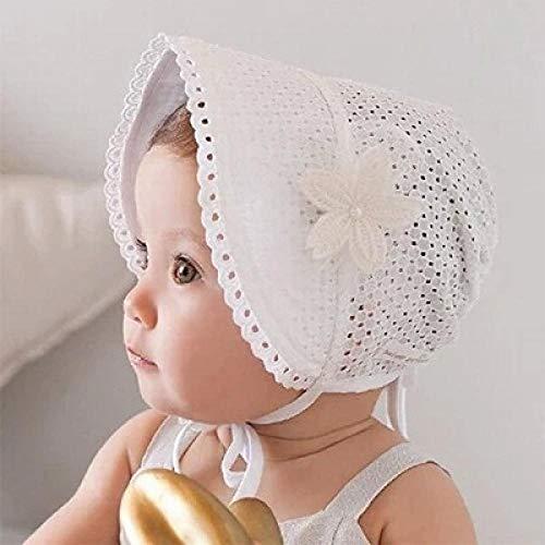 Gbksmm Sommer Baby Sonnenhut Spitze Blume Prinzessin Mädchen Kappe Einfarbig Hohl Kinderhut Retro Schnürung Palace Beanie-Weiß