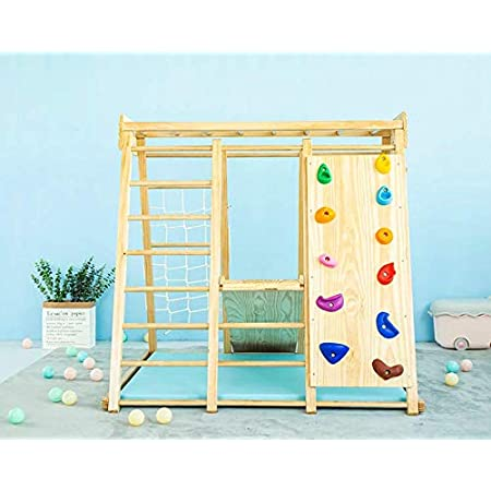 Indoor Toddler & Child Indoor Gym Playground Climber Real Wooden Playset 6-in-1 Slide, Rock Climb Wall, Rope Wall Climbing, Monkey Bars, Swing, Ladder Fun Gym for Children Ages 2 by Avenlur (Medium)