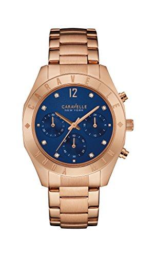 Caravelle New York Oro Rosa Boyfriend Reloj de Mujer de Cuarzo con Esfera Azul Cronógrafo y Pulsera de Oro Rosa 44l192