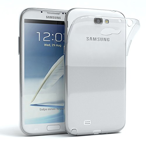 EAZY CASE Hülle für Samsung Galaxy Note 2 Schutzhülle Silikon, Ultra dünn, Slimcover, Handyhülle, Silikonhülle, Backcover, Durchsichtig, Klar Transparent