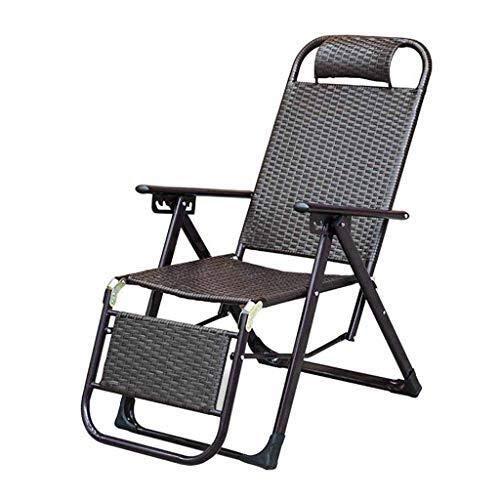 LCHEGG Rotin Fauteuil inclinable chaises de gravité Pliantes Zero Sun Loungers chaises Longues Relaxer Garden Beach Brown Réglable