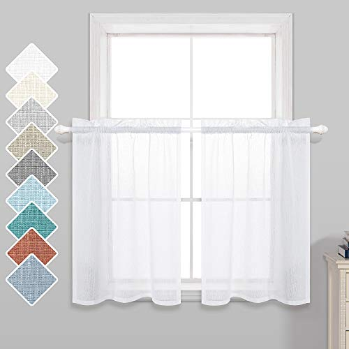 Short Sheer Curtains 36 Inch Length for Kitchen Rod Pocket 2 Panels Linen Look Textured Cafe Curtain Semi Sheer Tier Curtains for Small Window Bathroom Farmhouse 30x36 inches Long White