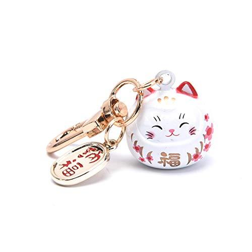 RUIYELE 1 porte-clés japonais en forme de chat porte-bonheur porte-bonheur porte-bonheur Feng Shui en céramique pour décoration de voiture et de maison