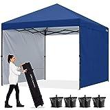 ABCCANOPY 1.8x1.8M Pavillon Outdoor Easy Pop-up-Überdachungszelt mit 2 Seitenwände,Navy Blau
