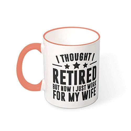 Taza de café de jubilación pero trabajo para mujer, cerámica, estilo retro, divertido sarcasmo, regalo para niñas, Persimmón, 330 ml