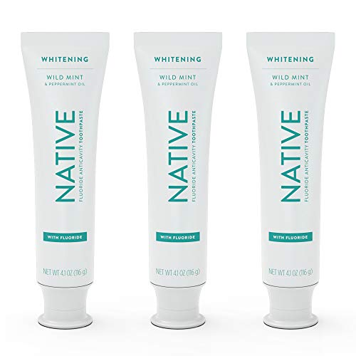 Native Toothpaste 3-Pack Whitening Wild Mint & Peppermint Oil Fluoride Toothpaste, 4.1 oz