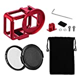 TELESIN Aluminum Protective Case Hollow Frame Housing for GoPro Hero 7 Black Hero 6 Hero5, with 52mm UV Filter and Backdoor, Good GPS/Wi-Fi Signal Receiving, HDMI Type-C Port Supported (Red)