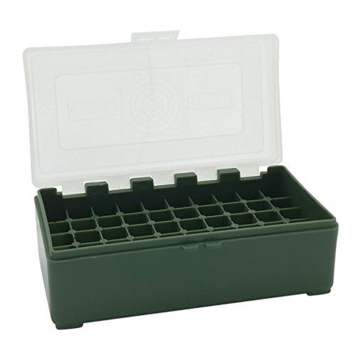 Waffenpflegewelt WPW Patronenbox aus robustem Kunstoff mit Klappdeckel für Kaliber .357 Magnum, Kaliber .38 Special, Kaliber .38 Super Auto - 50 Stück – grün