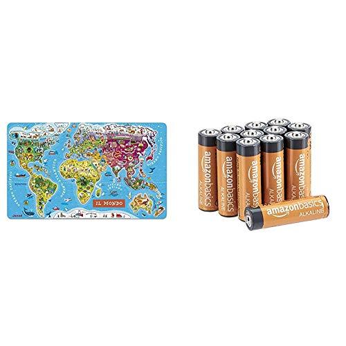 Janod- Puzzle di Legno Il Mondo Magnetico, 92 Pezzi, Versione Italiana, J05513 & AmazonBasics - Pile Stilo Alcaline AA Performance, confezione da 12