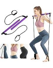 Surplex Bodybuilding Yoga Pilates Stick met voetlus, Pilates Bar Kit met weerstandsband, draagbare yoga pilates Stick oefenbar, ideaal voor thuis Total Body Workout, gym, gewichtheffen