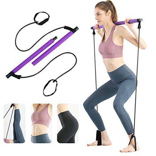 Surplex Kit de Barra de Pilates portátil con Banda de Resistencia, Bodybuilding Yoga Pilates Stick con Foot Loop, Core Strength Fitness Gym para Terapia Física, Estiramiento, Esculpido, Torsión ✅