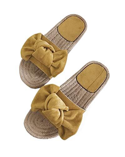 Minetom Schlappen Damen Schleife Sommer Sandalen Flache Espadrille Sandaletten Peep Toe Wildleder Sommerschuhe Bequeme Urlaub Strand Hausschuhe Pantoffeln A Gelb 43 EU