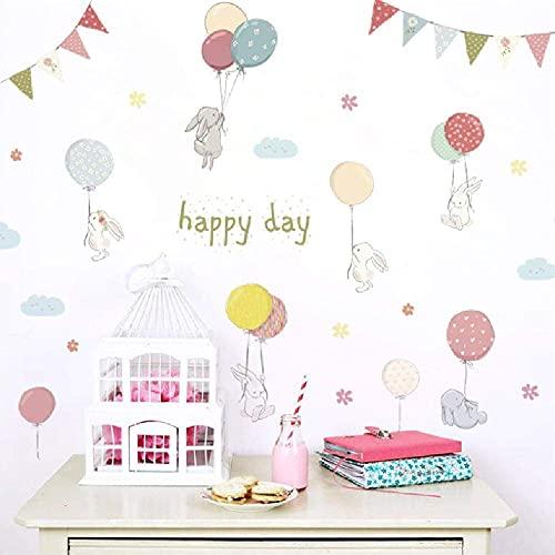 Adesivo Da Parete Fai Da Te Happy Day Cartoon Rabbit Flower Balloons Flag Rimovibile Family Art Vinyl Quote Home Decor