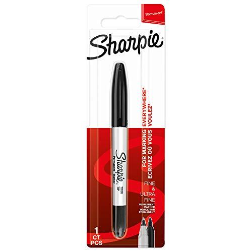 Sharpie Pennarello indelebile a doppia punta, punta fine e ultra fine, nero, 1 pezzo