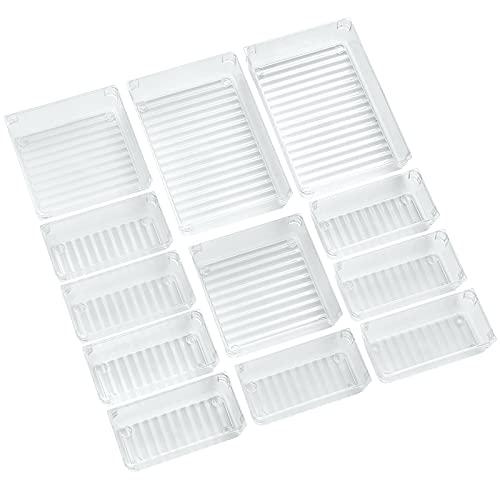ACCEVO 12 PCS Organizadores Transparentes para Cajones, Cajas Plásticas de Almacenamiento, Apilables Baño Bandejas...