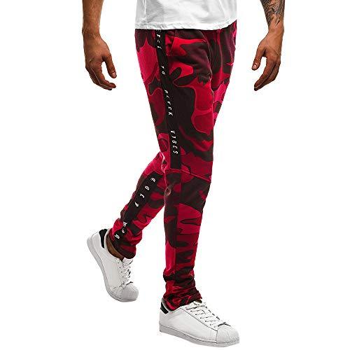 YanHoo Pantalones de chándal Sueltos Ocasionales de la Aptitud del Deporte de los Hombres de la Moda Que activan Pantalones de Jogging Camuflaje Militar (Rojo~2, M)