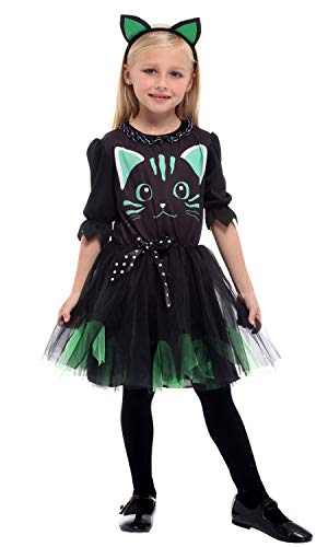 GEMVIE Déguisement Chat Noir Enfant Fille 4-12ans Costume Chat de Minuit Robe Tutu Halloween Cosplay Toussaint Carnaval Soirée (7-9 ans)