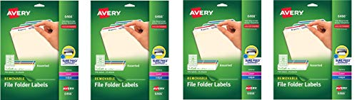 Avery Removable 2/3 x 3 7/16 File Folder Labels 750 Pack (6466) (4 X Pack of 750)