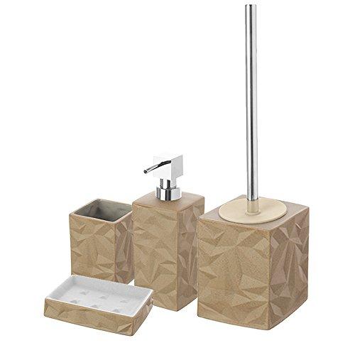FERIDRAS Set accessori da bagno dispenser di sapone portasapone portaspazzolino spazzolone per WC effetto sabbia in porcellana