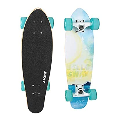 Tbest High-Rebound Widened Skateboard, High-Rebound Four-Wheel Maple Wood Widened Skateboard for Beginners and Professionals