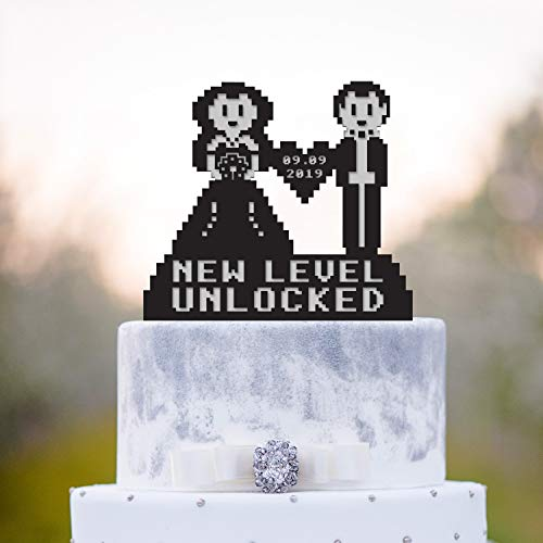 Cake Toppers Personalized 8 Bit Video Game Wedding Cake Topper Gamers Wedding 8 Bit Cake Topper 8 Bit Wedding Gamer Cake Topper Gamer Wedding Cake Topper for Men Women
