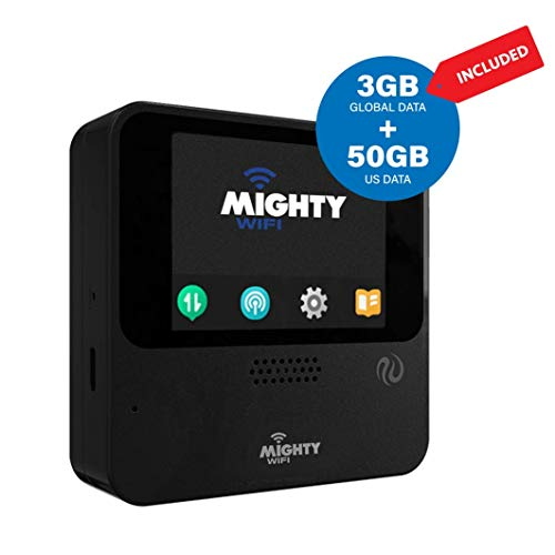 MightyWifi Cloud Black Upgrade Worldwide high speed hotspot with US 50 GB and Global 3GB data for 30 day, Pocket Mifi, Personal, Reliable, Wireless Internet, Router, No Sim card, Roaming, Home, Travel