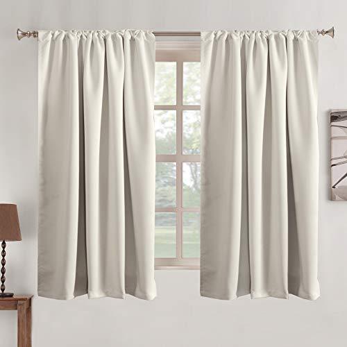 "Tab Curtains Cream Room Darkening Curtains - Thermal Insulated Window Drapes Short Heavy Duty Soft Rod Pocket Curtain Window Treatments for Nursery Bedroom 2 Panels- Cream Beige-52 W x 63"" L"