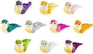 Lot de 10 oiseaux décoratifs avec plumes, 6 x 2,5 x 3 cm, couleurs assorties