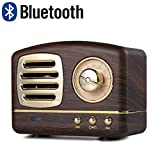 Lychee Vintage Creativo Altoparlante Bluetooth Senza Fili Retro stereo Bass Subwoofer Mini cassa acustica portatile Supporto TF AUX Musica Gioca a Mani libere con Microfono (Marrone)