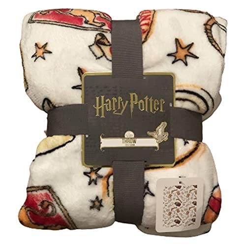 Licensed Primark Manta de Forro Polar de Harry Potter Gryffindor, 120 cm x 150 cm (Manta Blanca)