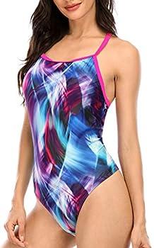 beautyin Women s One Piece Swimsuits Training Athletic Swimwear Lap Swimming Pink/Blue