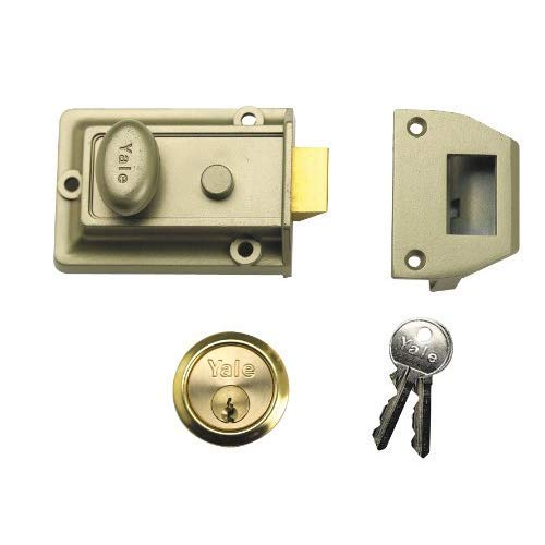 Laiton Plaqu/é en bo/îte Bronze Traditionnel Yale Locks 77ENBPB Cylindre de Nuit 60 mm avec Serrure de Nuit /émaill/ée