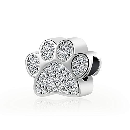 SBI Jewelry Dog Charm for Bracelets I Love Pet Paw Print Charm with Cubic Zirconia Gift for Women Girls Birthday
