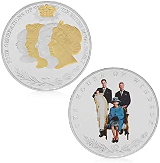 Coin Souvenir - Four Generations British Royal Family Commemorative Coins Collection Collectible - Block Coin Furniture Silver 18 Gift Uniform Our Non-currency Royal Wall School Kate William Co
