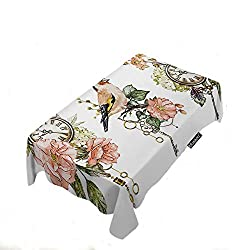 Moslion Pink Peony Tablecloths Retro Floral Cute Animal Bird Butterfly Antique Clock 60x90 Inch Tablecloth for Kitchen Dinning Decor Parties Weddings Thanksgiving Christmas