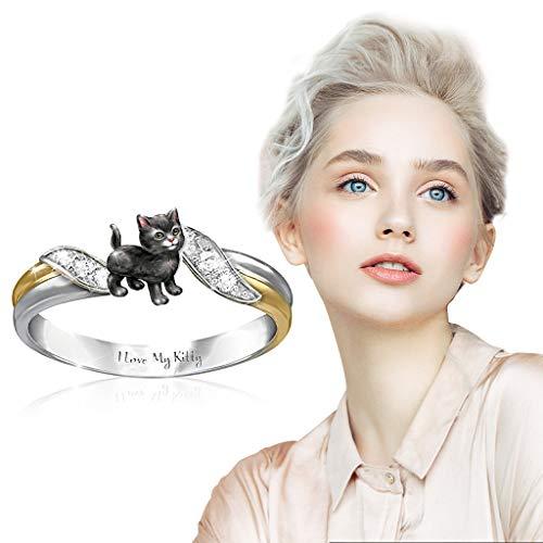 BATKKM Fashion Cat Elephant Owl Ring Animal Women Wedding Engagement Party Jewelry Size 6-10