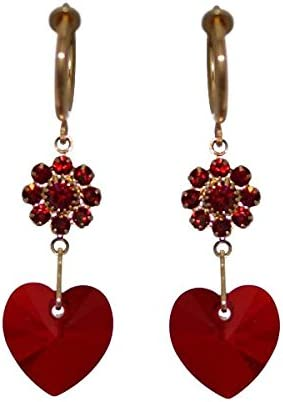 CERCEAU HEARTS & FLOWERS Gold Plated Siam Crystal Clip On Earrings