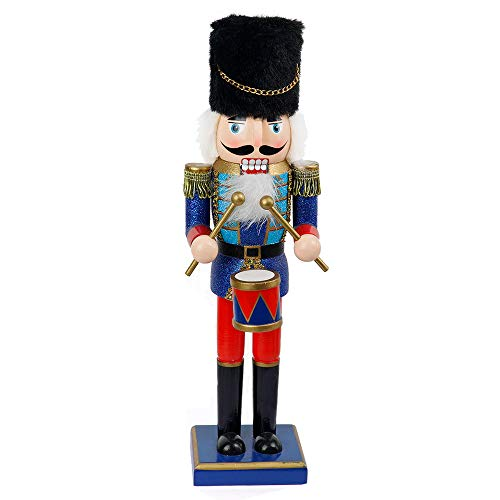 FUNPENY 14' Christmas Decorative Nutcracker, Handmade Wooden Glittery Guard in Blue Traditional Uniform, Figures Soldier Toy Present, Festive Collectible Nutcracker Tabletop Christmas Decorations